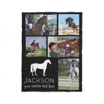 Personalized Horse Photo Collage Equestrian Riding Fleece Blanket