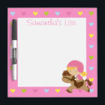 "Personalized Horse Riding Hearts Dry-Erase Board<br><div class=""desc"">Perfect for the young girl who loves horses and horseriding,  featuring a young blonde girl riding a horse on a background of love hearts. The text and background pink color can be customized to suit your own taste.</div>"