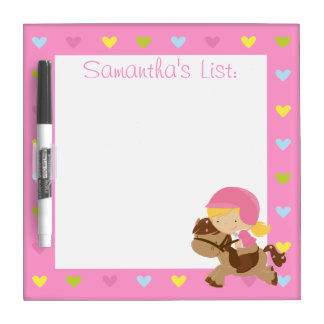Personalized Horse Riding Hearts Dry-Erase Board