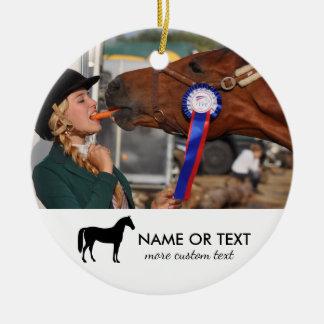 Personalized Horse Riding Photo Equestrian Ceramic Ornament