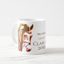 Personalized Horse, Snaffle Bit Brown Graduation Coffee Mug