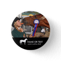 Personalized Horseback Riding Equestrian Photo Button