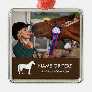 Personalized Horseback Riding Photo Equestrian Metal Ornament