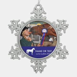 Personalized Horseback Riding Photo Equestrian Snowflake Pewter Christmas Ornament