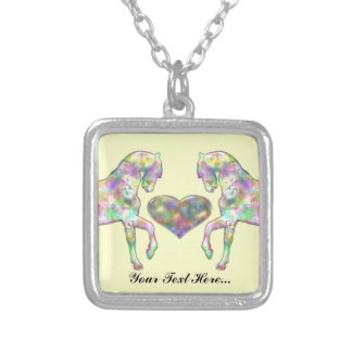 Personalized Horses And Heart Necklace
