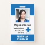 """Personalized Hospital Employee Logo & Photo ID Badge<br><div class=""""desc"""">Personalize these vertical medical personnel badges with an employee photo and name, along with multiple custom text fields for hospital or healthcare facility name, unit or floor, title abbreviation, employee ID number, or valid through date, along with the medical center logo. The title or role appears along the bottom in...</div>"""