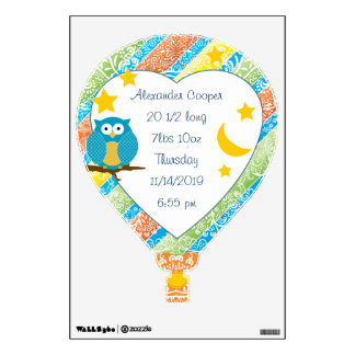 Personalized Hot Air Balloon Baby Stat Wall Decal