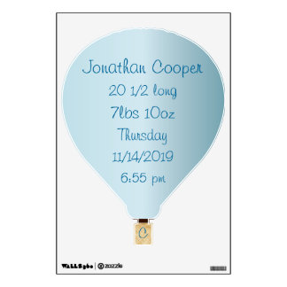 Personalized Hot Air Balloon Baby Stats Wall Decal