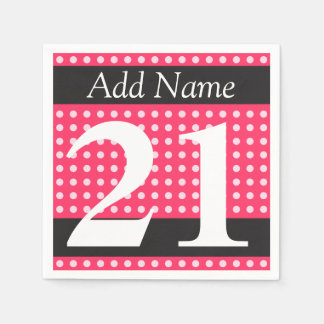 Personalized Hot Pink 21st Birthday Polka Dots Disposable Napkins