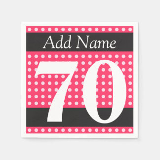 Personalized Hot Pink 70th Birthday Polka Dots Paper Napkin