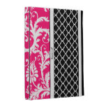 Personalized Hot Pink and Black Damask iPad Case