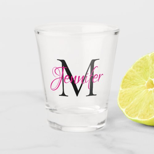 Personalized Hot Pink and Black Monogram Shot Glass