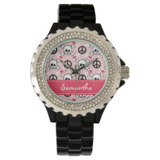 Personalized Hot Pink and Black Skull Wristwatch