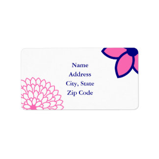 Personalized Hot Pink and Navy Blue Modern Floral Label