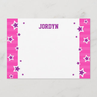 Personalized hot pink and purple flat note card