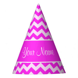 Personalized Hot Pink and White Chevrons Party Hat