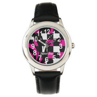 Personalized Hot Pink, Black and White Abstract Wrist Watch