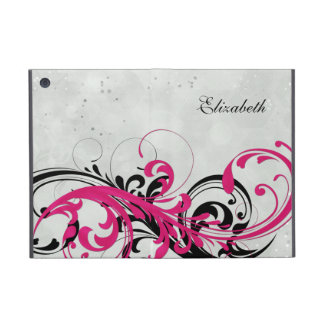 Personalized Hot Pink Black Floral iPad Mini Folio iPad Mini Covers