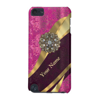 Personalized hot pink damask pattern iPod touch (5th generation) cover