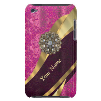 Personalized hot pink damask pattern iPod touch Case-Mate case