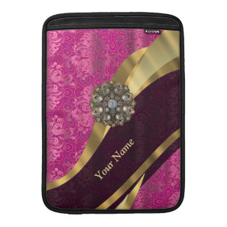 Personalized hot pink damask pattern MacBook air sleeve