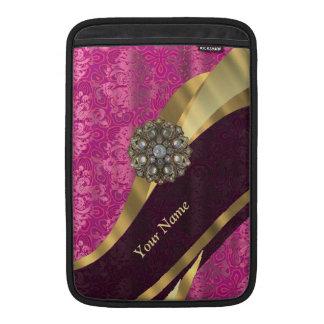 Personalized hot pink damask pattern MacBook sleeve