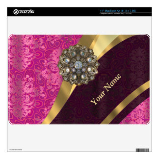 """Personalized hot pink damask pattern skins for 11"""" MacBook air"""
