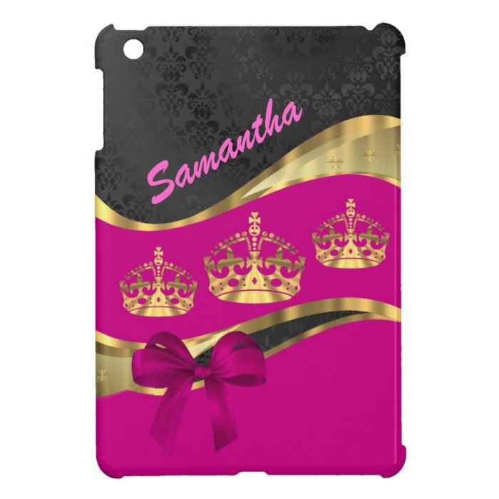 Personalized hot pink & gold iPad mini cases