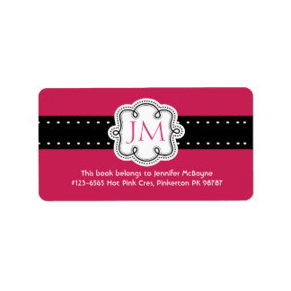 Personalized Hot Pink Ladies Initials  Bookplate