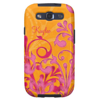Personalized Hot Pink Orange Abstract Floral Galaxy S3 Cover