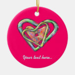 Personalized Hot Pink Triple Heart Double-Sided Ceramic Round Christmas Ornament
