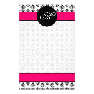 Personalized Hot Pink & White Damask Monogram Custom Stationery