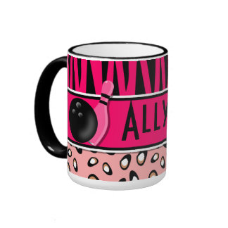 Personalized Hot Pink Zebra Leopard Bowling Ringer Coffee Mug
