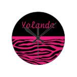 Personalized Hot Pink Zebra Stripes Wall Clock
