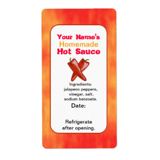 Personalized Hot Sauce Labels Template Chilies X