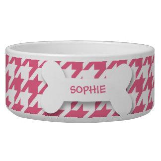 Personalized houndstooth dog bone pet food bowl