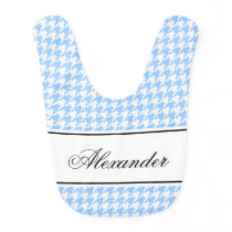 Personalized houndstooth pattern baby bib for boy