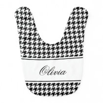Personalized houndstooth pattern baby bib for girl