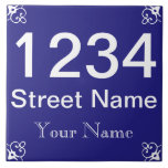 """Personalized House Number Tile<br><div class=""""desc"""">Make your own house number.  Add your street,  and name or business name. Spanish tile style.  White on blue.</div>"""