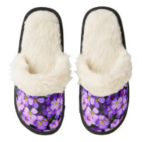 Personalized House Slippers Flowers ADD YOUR PHOTO Pair Of Fuzzy Slippers