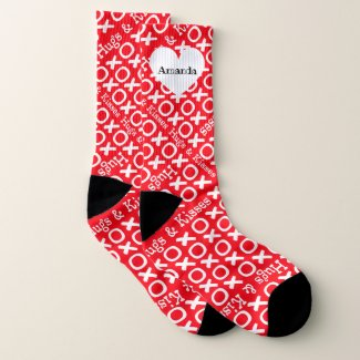 Personalized Hugs and Kisses Valentines Socks