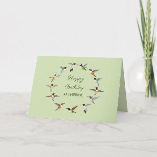 Personalized Hummingbird Happy Birthday Card