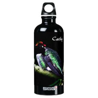 Personalized Hummingbird on Blue Aluminum Water Bottle