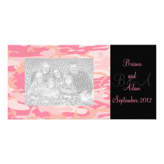 Personalized Hunter Girl Pink Camo Frame Photocard Card