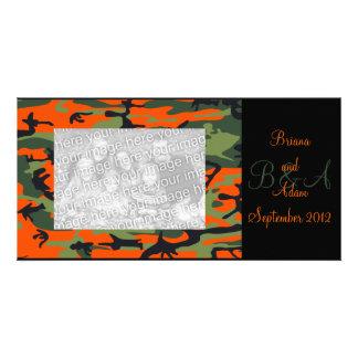 Personalized Hunter Orange Camo Frame Photocard Card