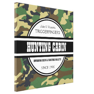 Personalized Hunting Cabin with Camo Print Canvas Print
