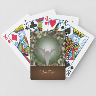 Personalized Hunting Theme Deer Antlers Green Camo Poker Cards