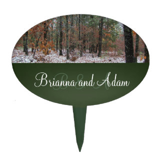 Personalized Hunting Theme Winter Scene Wedding Cake Topper