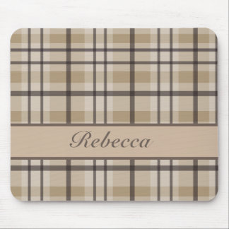 Personalized hurricane and sandrift  plaid pattern mouse pad