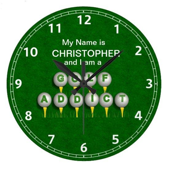 Personalized I am a Golf Addict Large Clock